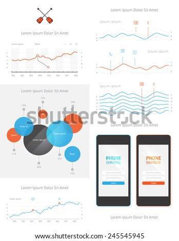 vector elements of infographics and user interface  - stock vector