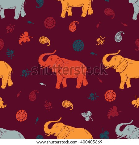 Vector elephant and floral Indian textile motives seamless pattern.Hand drawn elephant.  - stock vector