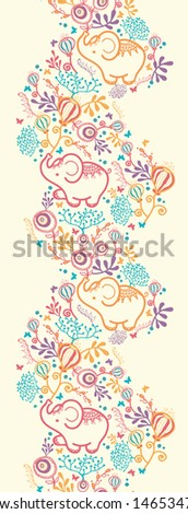 Vector Elephants With Flowers Vertical Seamless Pattern Background Border. Cut, hand drawn and colorful elements. - stock vector