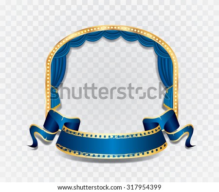 vector ellipse stage with blue curtain, golden frame, bulb lamps and transparent shadow - stock vector