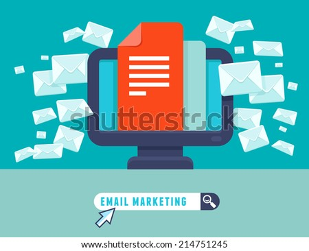 Vector email marketing concept - flat trendy icon - newsletter and subscription - stock vector