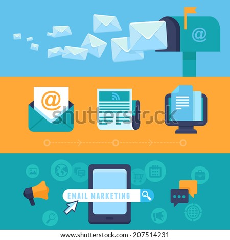 Vector email marketing concepts - flat trendy icons - newsletter and subscription - bright illustrations for horizontal banners or headers - stock vector