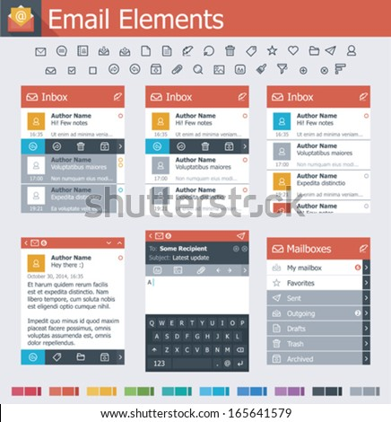 Vector email user interface elements and icon set - stock vector