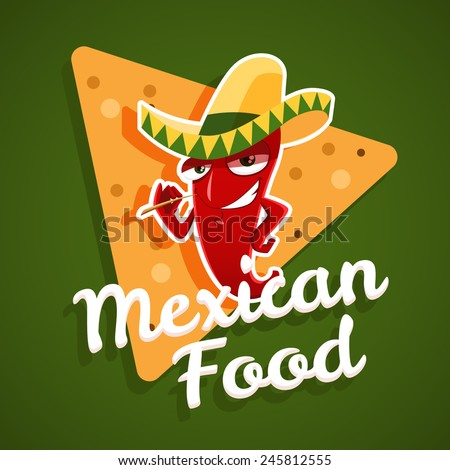 Vector emblem of mexican food with red chili pepper and nachos - stock vector