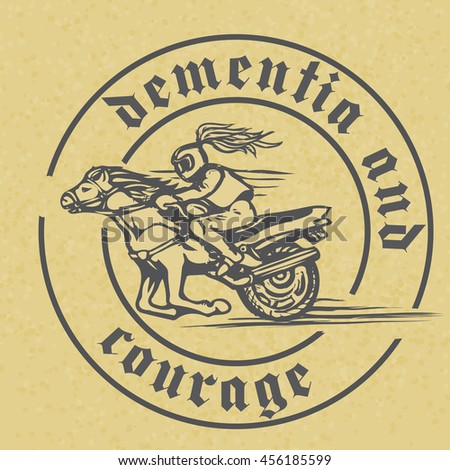 Vector emblem with a rider on a horse, motorbike and circular inscription