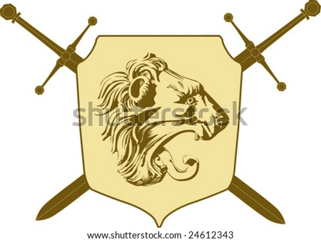 Vector emblem with lion - stock vector
