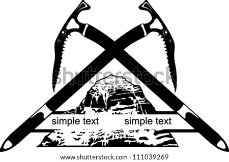 vector emblem with mountains and ice axe - stock vector