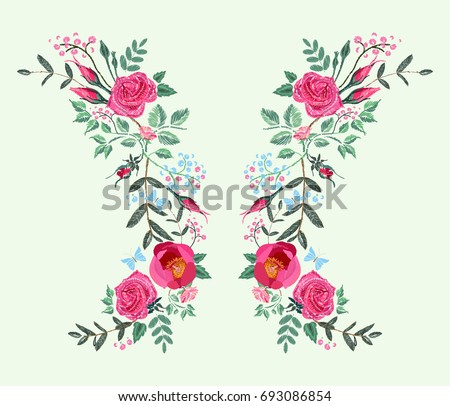 Vector Embroidery Design Dress Red Pink Stock Vector Hd Royalty