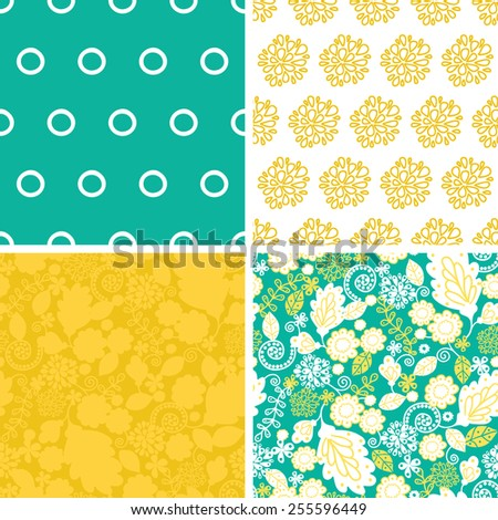 Vector emerald flowerals set of four marching repeat patterns backgrounds - stock vector