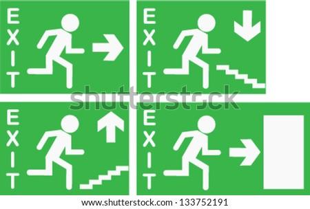 Vector Emergency Exit Signs - stock vector