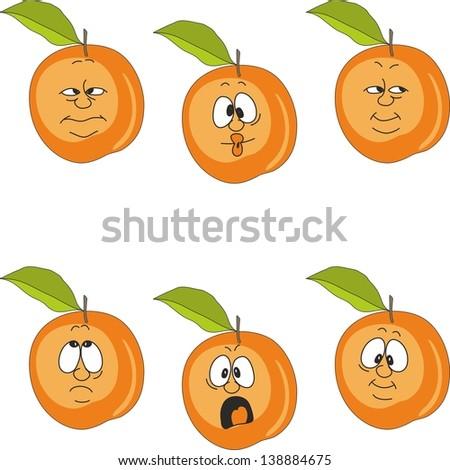 Vector.Emotion cartoon peach set 007 - stock vector