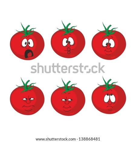 Vector. Emotion cartoon red tomato vegetables set 007 - stock vector