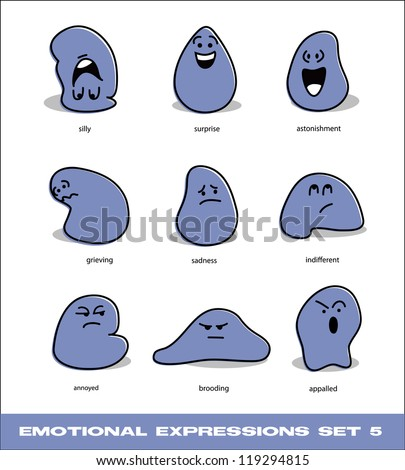 vector emotional expressions set 5 - stock vector