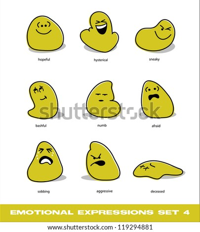 vector emotional expressions set 4 - stock vector