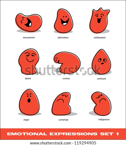 vector emotional expressions set 1 - stock vector