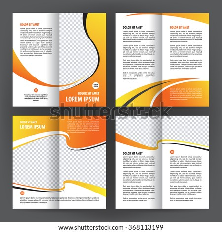 Vector empty bi-fold brochure print template design, bifold bright orange & yellow booklet or flyer, 8 pages, 210*210 mm