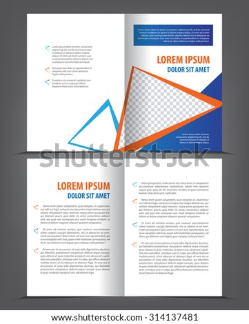 Vector empty bi-fold brochure print template design, geometric newsletter booklet layout - stock vector
