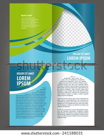 Vector empty bi-fold brochure print template design with blue elements - stock vector