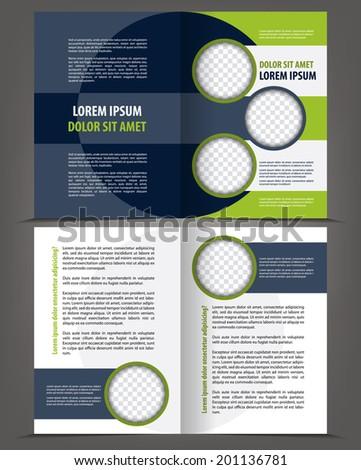 Vector empty bi-fold brochure print template design with dark and bright elements - stock vector