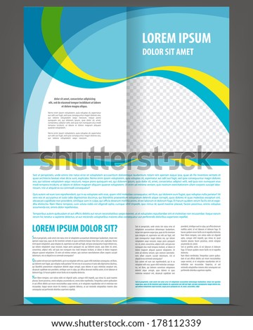 Vector empty bi-fold brochure template design with blue and yellow elements