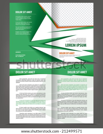 Vector empty bifold brochure print template design with eco green elements