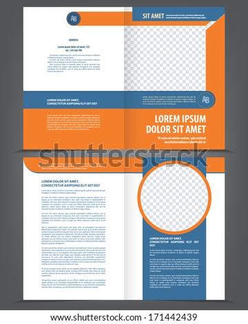 Vector empty bifold brochure template design with orange and dark blue elements - stock vector
