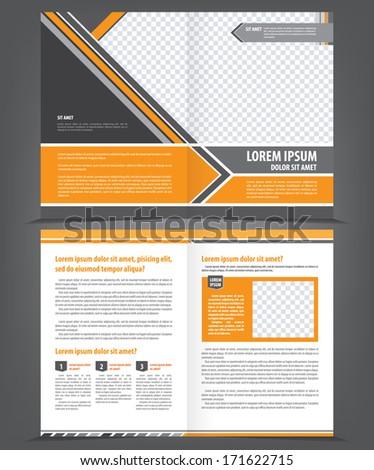 Vector empty bifold brochure template design with orange and gray elements - stock vector