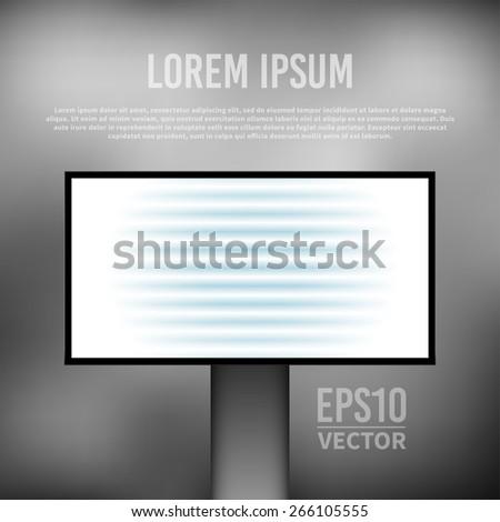 vector empty billboard template on gray blurry background - stock vector
