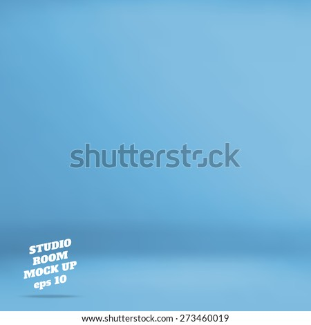 Vector : Empty blue  studio room background ,Template mock up for display of product,Business backdrop - stock vector