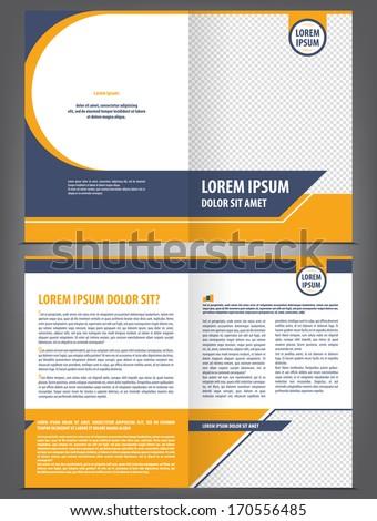 Vector empty brochure template design with orange and dark blue elements - stock vector