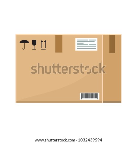 Vector Empty Cardboard box with flat and solid color style design.