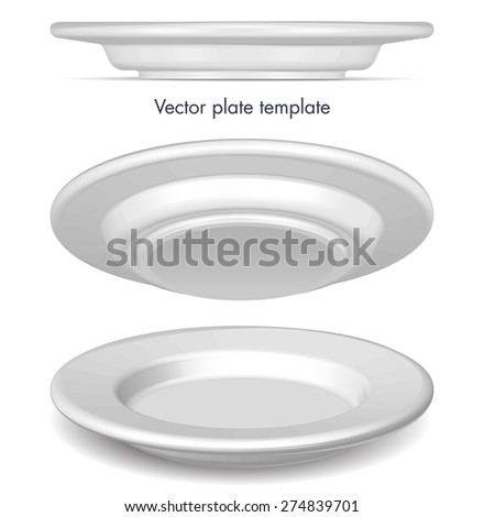 Vector empty plate template, three angles - stock vector