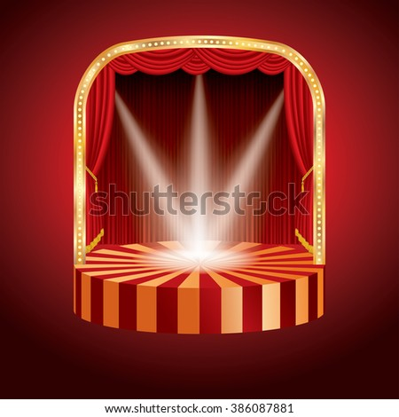 vector empty round stage with red curtain and three spots - stock vector
