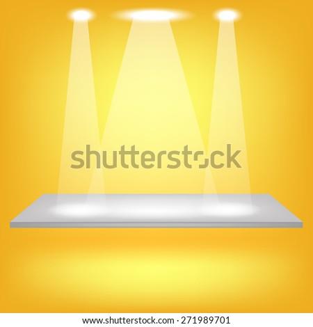 Vector Empty Shelf Isolated on Yellow Background. Spotlights Illuminated the Empty Shelf. - stock vector