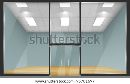 Vector Empty Shop Interior Front View Stock Vector