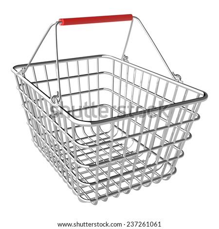 Vector empty shopping basket on white background - stock vector