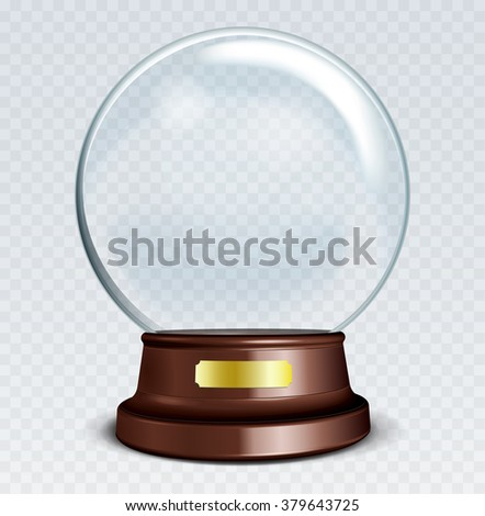 Vector Empty Snow Globe. White transparent glass sphere on a stand with Metal Sign with glares and highlights.  - stock vector