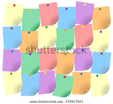 Vector empty stickers illustration. Set of blank colorful note items with curl edge and pins, white background - stock vector