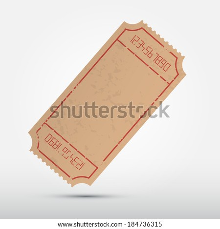 Vector Empty Ticket Illustration Isolated on Grey Background - stock vector