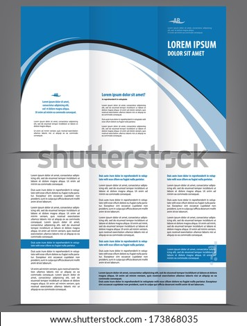 Vector empty trifold brochure template design with blue and gray elements - stock vector