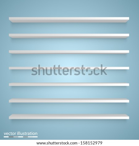 Vector Empty white shelves - stock vector