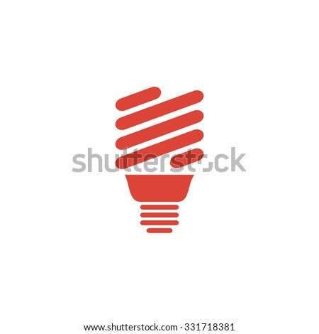 Vector energy saving fluorescent light bulb icon. - stock vector