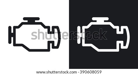 Vector engine icon. Two-tone version on black and white background - stock vector