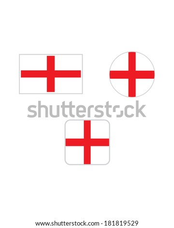 Vector England Flag and Icon Set - stock vector