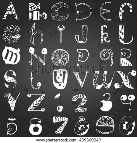 Vector English Alphabet and Numbers made of food and naturel elements. Hand-drawn on Gray Chalkboard