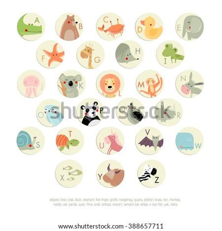 Vector English alphabet for children with animals. The crocodile, bear, duck, whale, crab, yak, quail, owl, giraffe, panda, rhino, fish, starfish, jellyfish, lion, monkey, elephant, hedgehog, iguana - stock vector