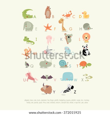 Vector English alphabet for children with cute animals. The crocodile, bear, whale, koala, panda, giraffe, elephant, yak, zebra, rhino, owl, duck, hedgehog, lion, turtle. It can be used as poster  - stock vector