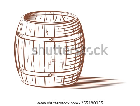 Vector engraved beer or wine barrel, isolated on white background  - stock vector