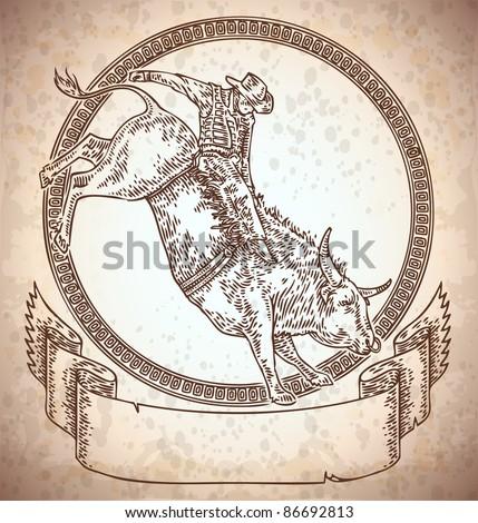 Vector Engraved Frame Rodeo Cowboy Riding Stock Vector 86692813 ...