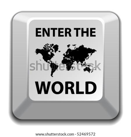 """vector """"enter the world"""" key - stock vector"""